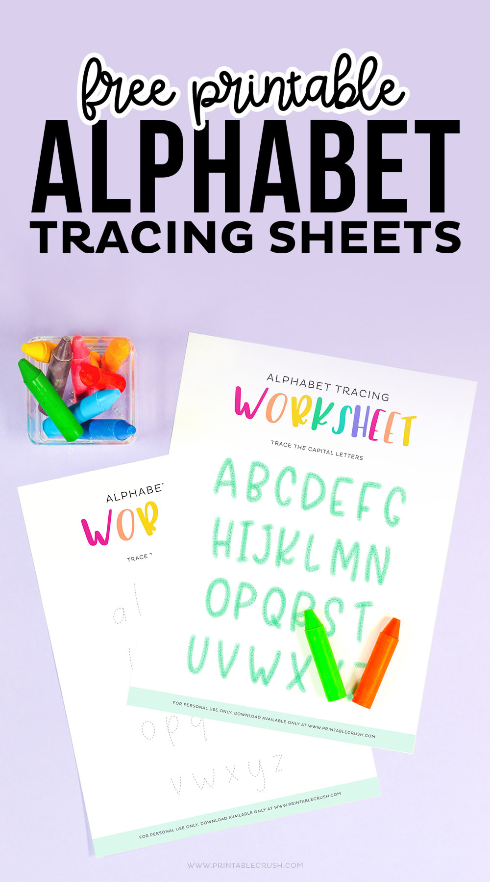 Alphabet Tracing Activity for Preschoolers - Easy Printable Alphabet Tracing - Kindergarten Activity - Preschool Activity - Printable Crush