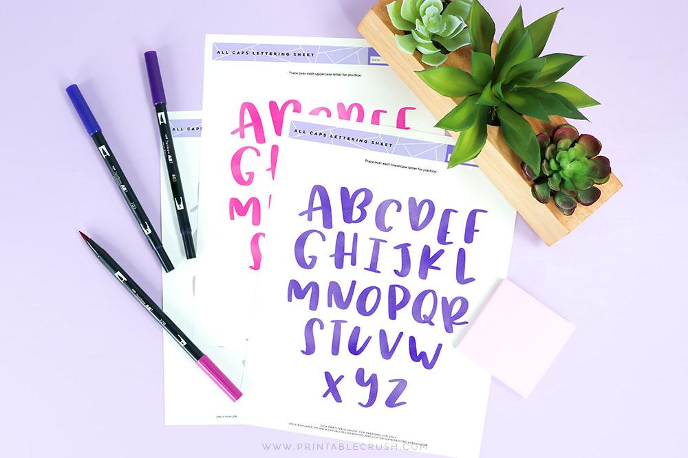 Free Brush Lettering Worksheet for All Caps- Free Practice Sheet for Lettering Capital Letters - Tombow Lettering Pens - Printable Crush