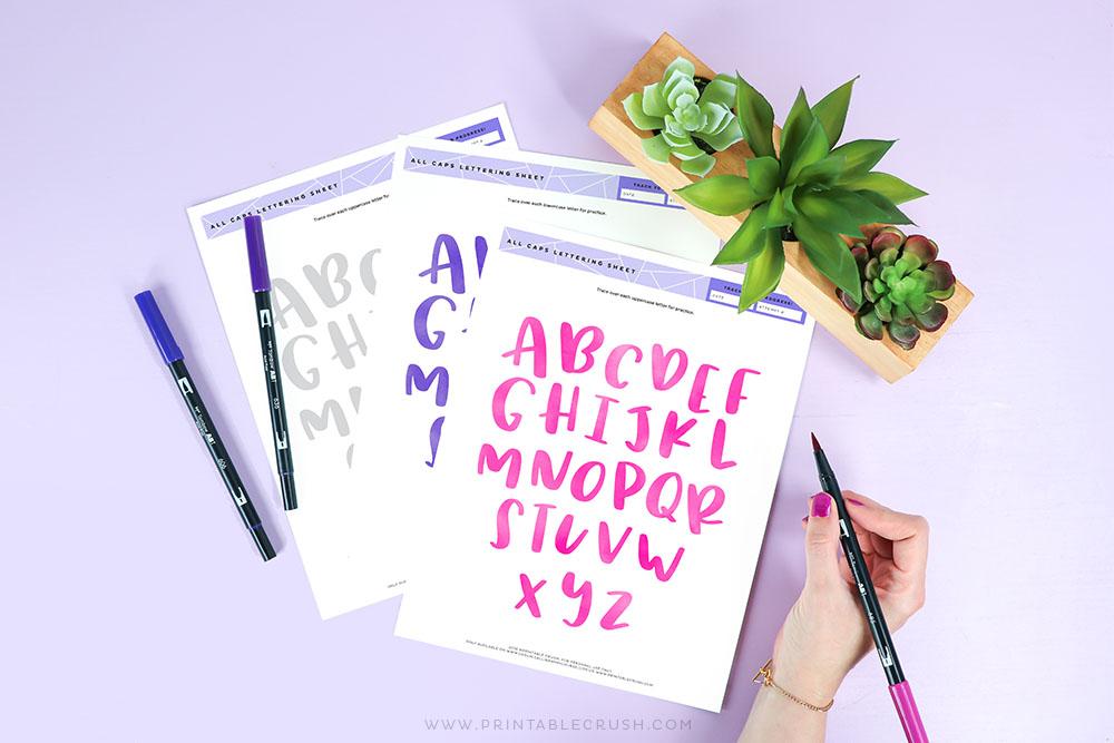 Free Printable Brush Lettering Practice - Tombow Dual Brush Pens - All Caps Practice Sheets - Brush Lettering - Printable Crush