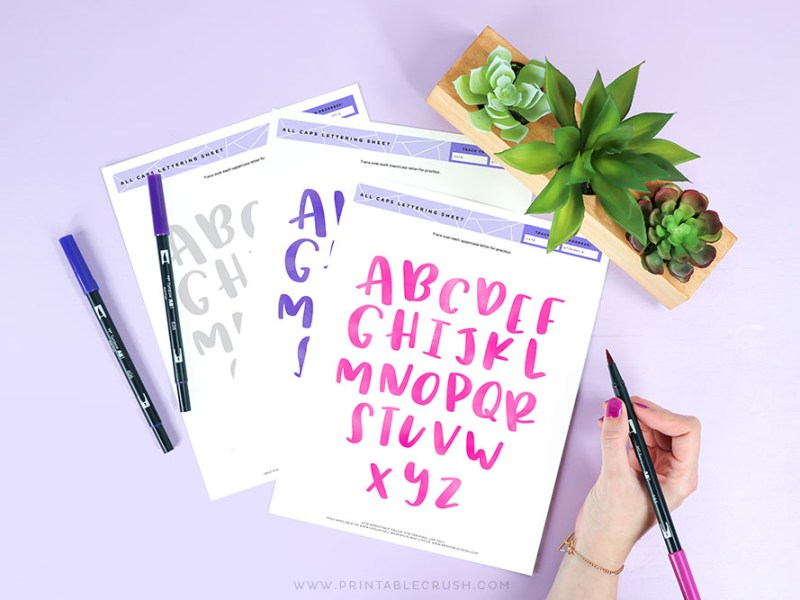 Free Printable All Caps Lettering Practice - Tombow Dual Brush Pens - All Caps Practice - Printable Crush