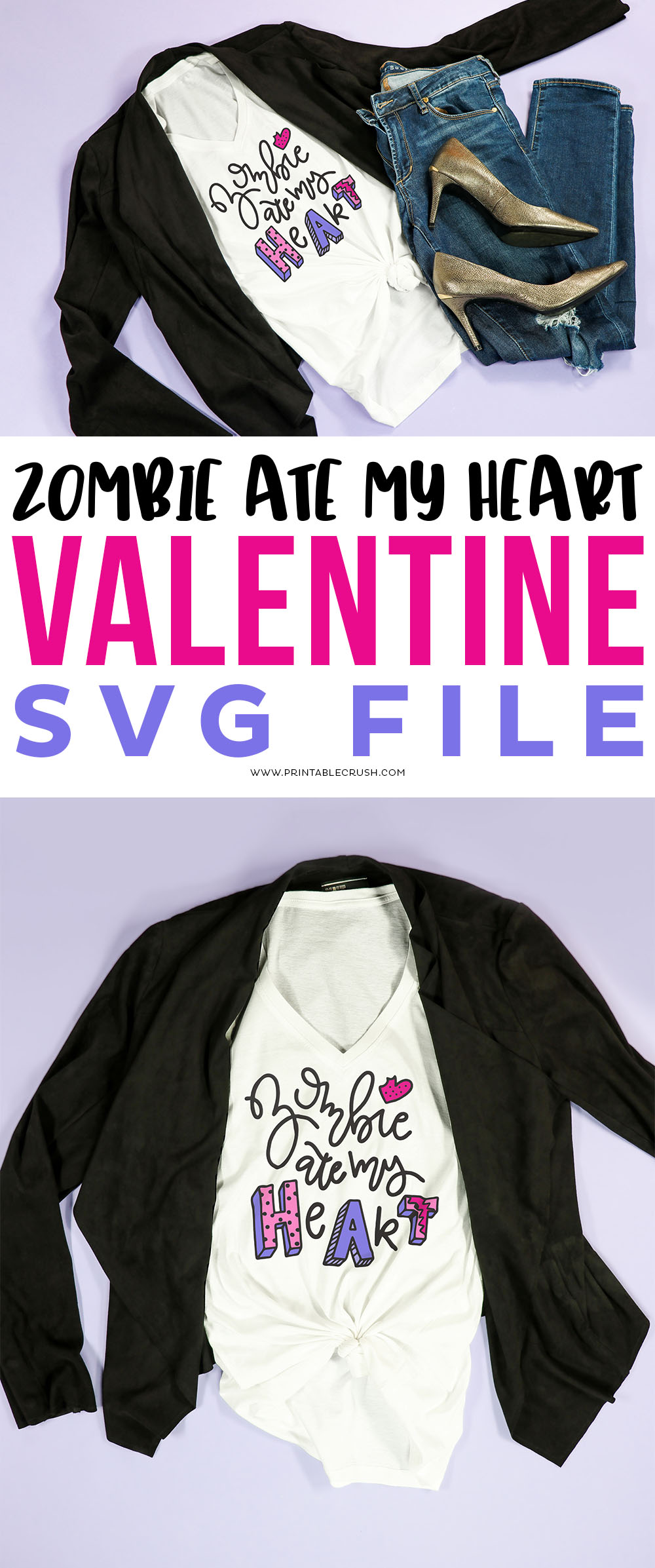 Free SVG File for Valentine's Day - SVG File for someone who hates Valentine's Day - Anti-Valentine SVG File - Zombie Ate My Heart SVG File - Printable Crush