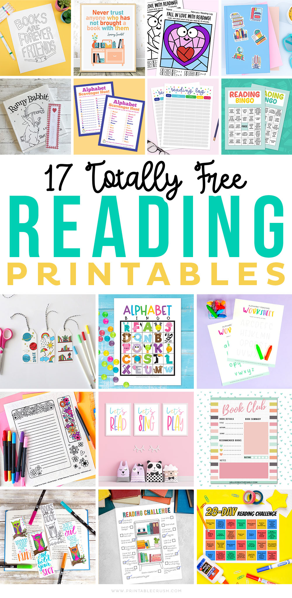 17 Free Reading Printables - Printables for Reading and Alphabet learning - Homeschool printables -Printable Crush