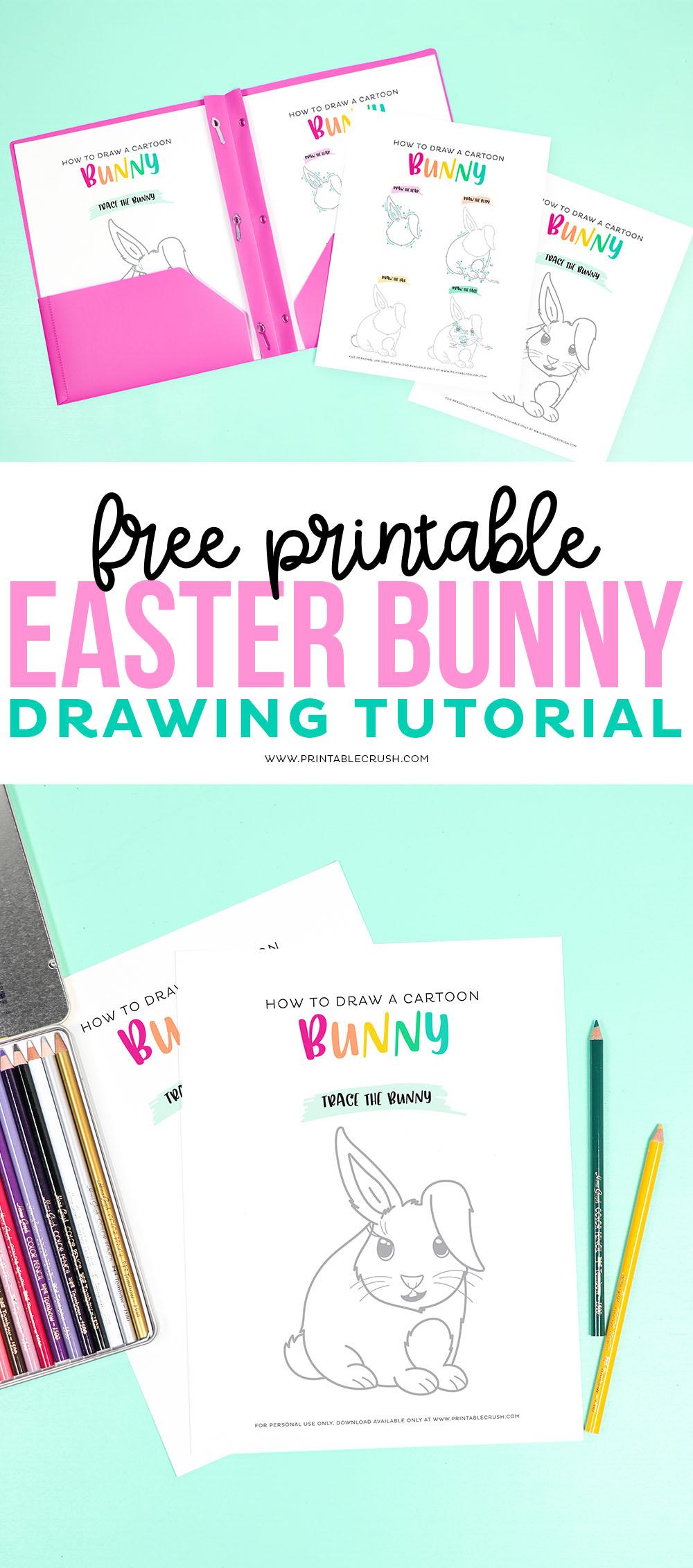 How to Draw an Easter Bunny Free Printable Drawing Tutorial - Cartoon Easter Bunny Drawing Tutorial #drawingtutorial #freeprintable #easterprintable #easterbunny via @printablecrush
