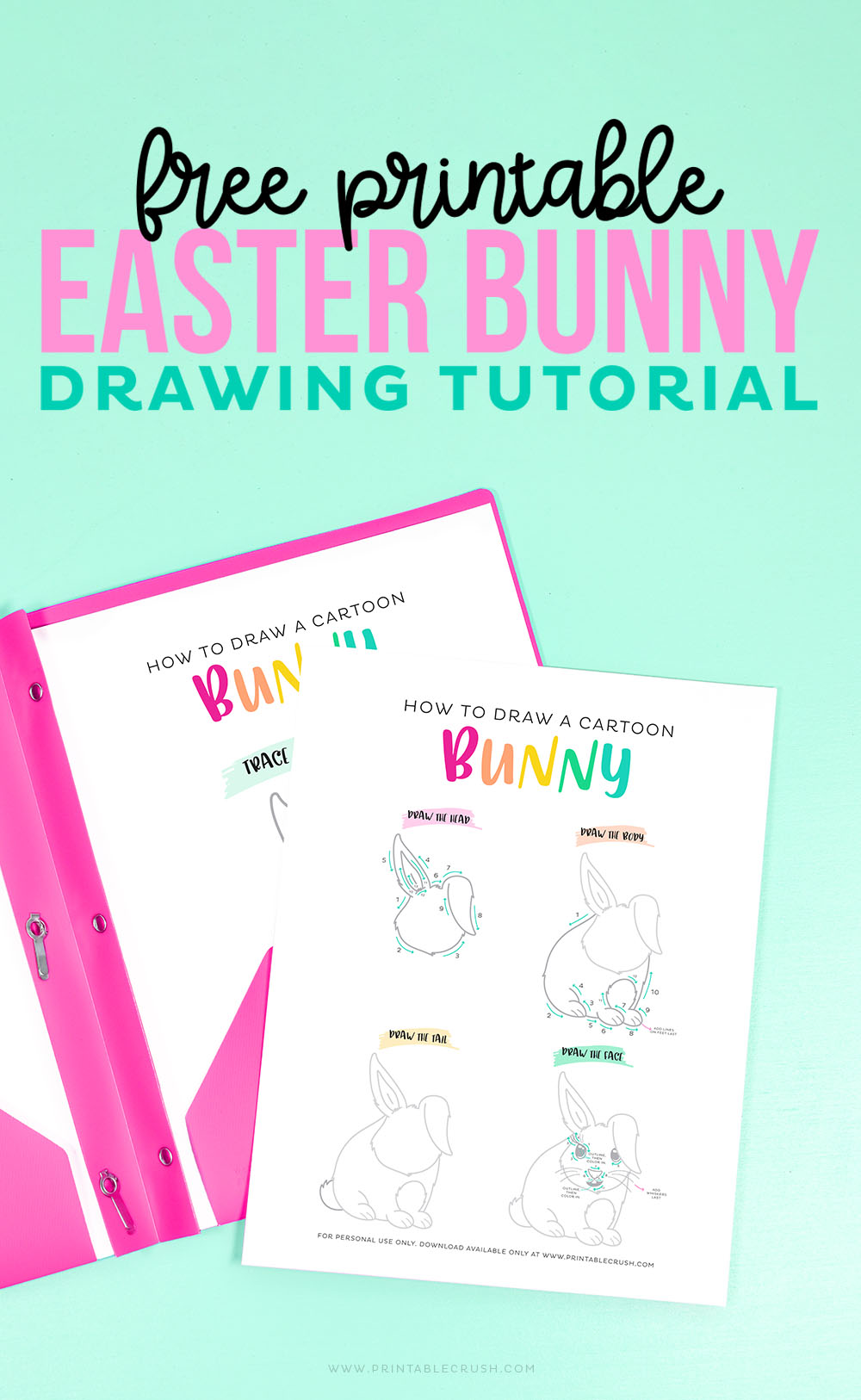 Free Printable Easter Bunny Drawing Tutorial - Free Easter Drawing Tutorial - Free Easter Bunny Drawing Tutorial - Printable Crush