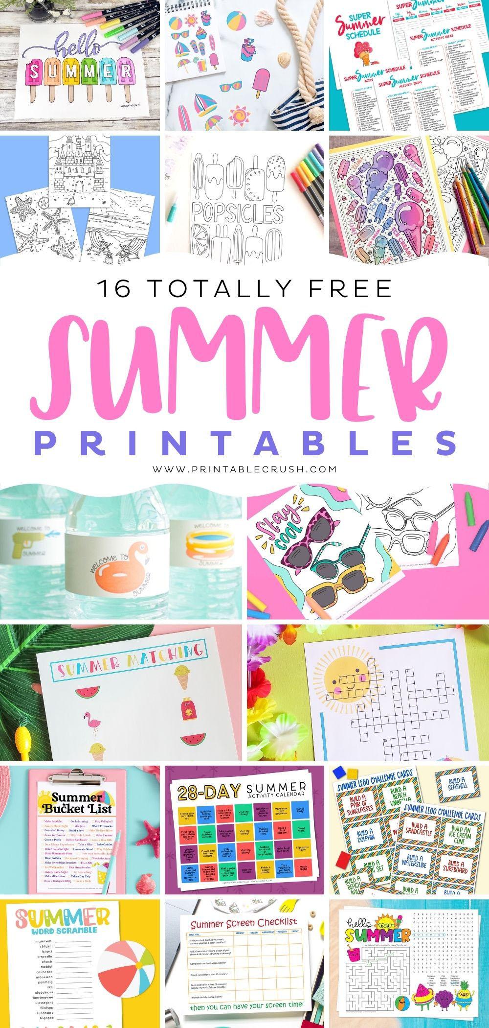 16 Totally Free Summer Printables - Printable Crush