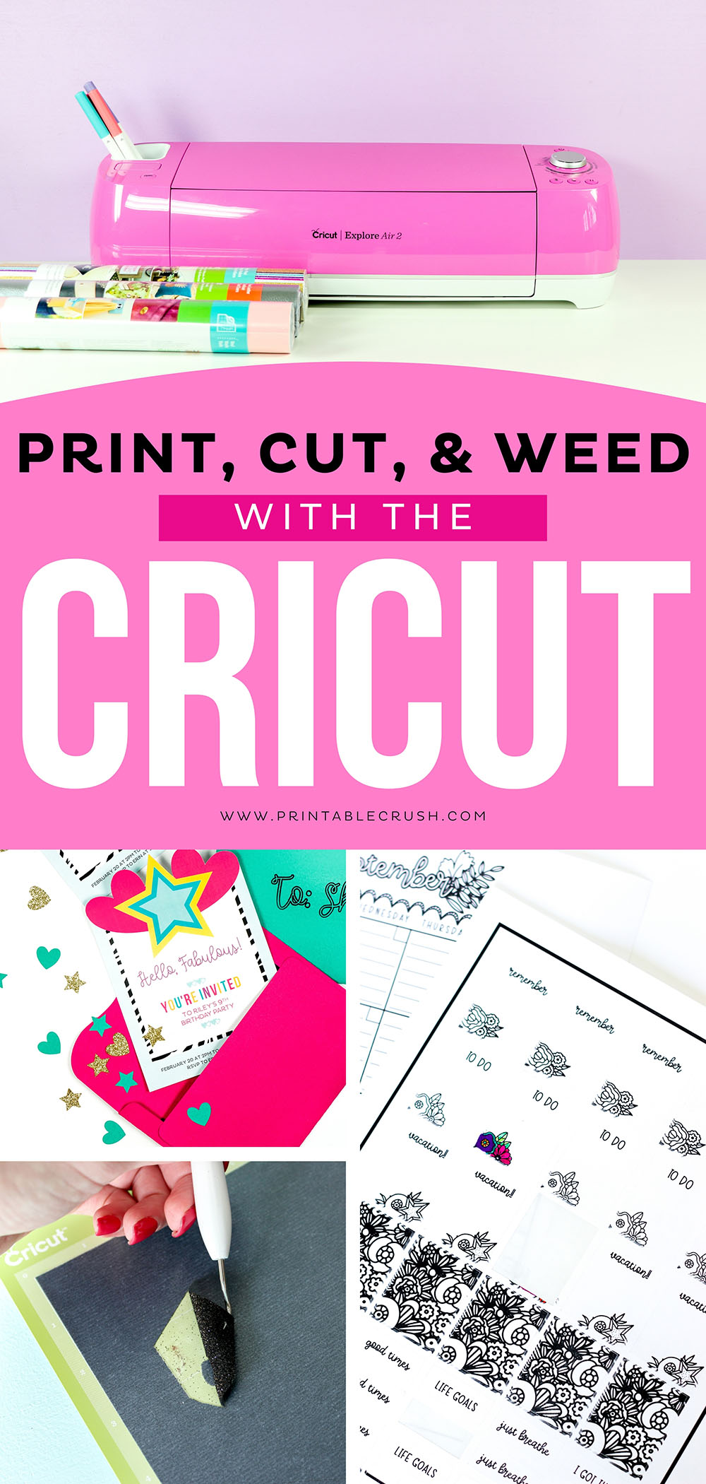 What does it mean to print, cut, and weed with the Cricut? Follow this tutorial to learn all the basic functions of a Cricut machine. #cricut #cricutmade via @printablecrush
