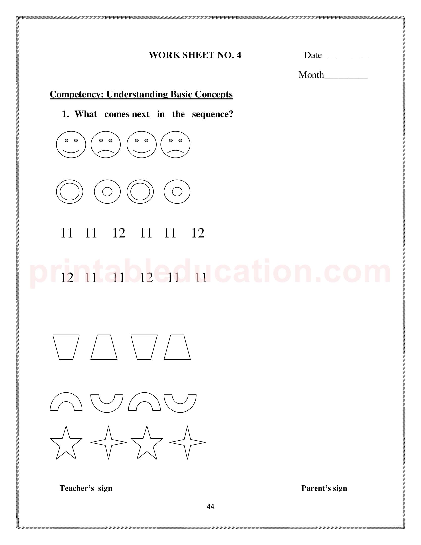 Sequence Amp Number Patterns Worksheets
