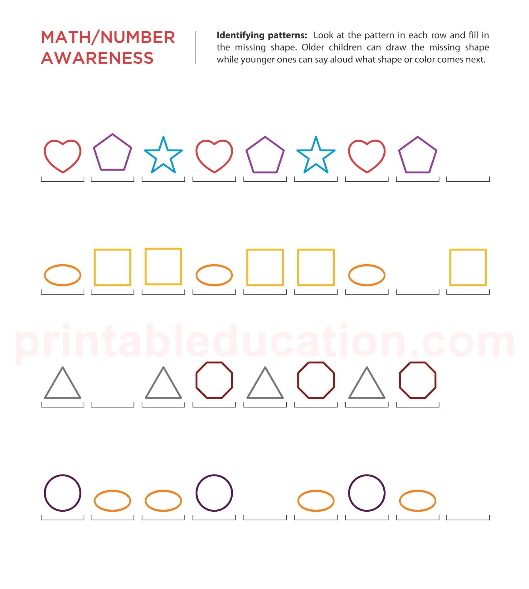 Sequence Amp Number Patterns Worksheets