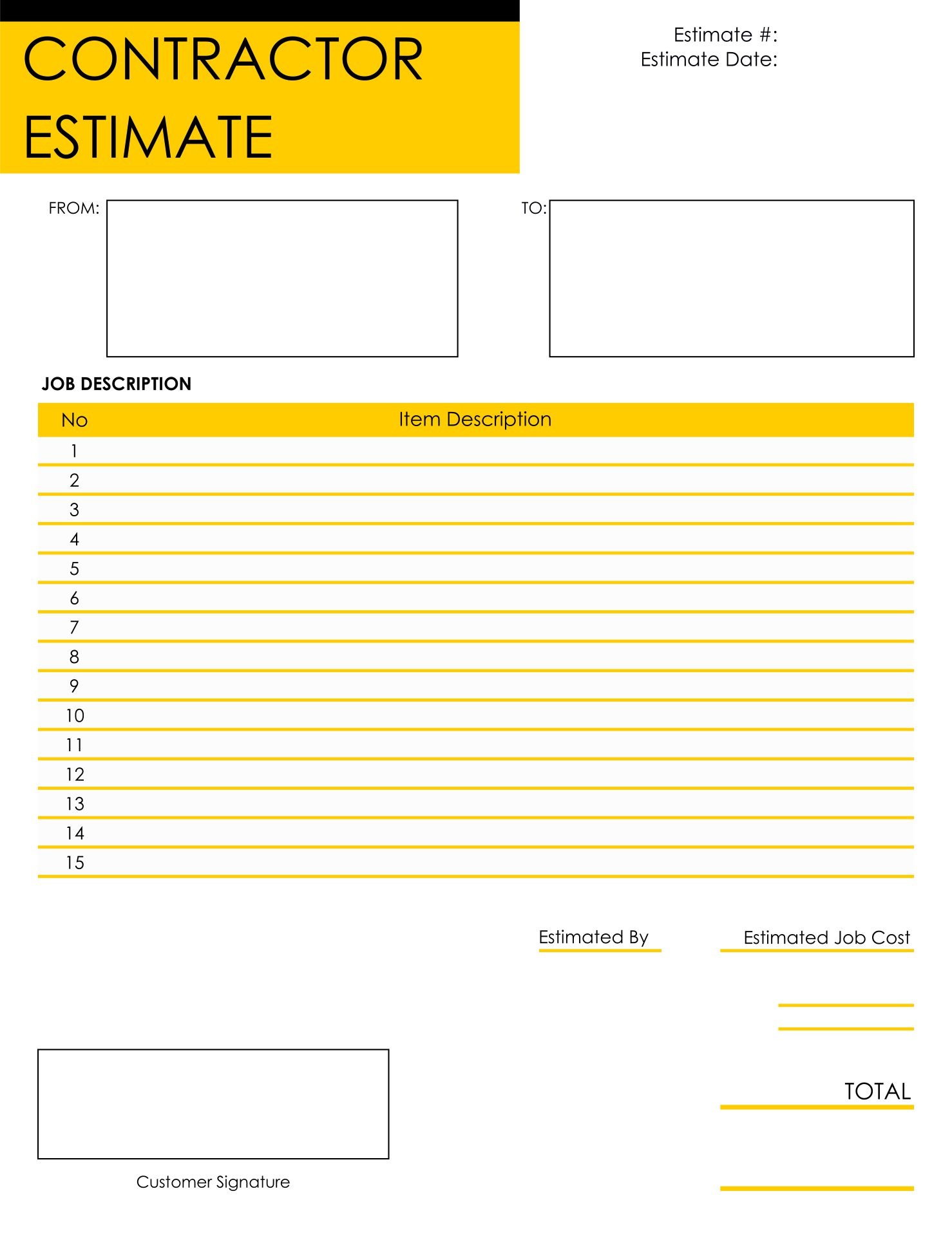 There are many different reasons you may find yourself searching for a printable form. 10 Best Free Printable Estimate Templates Blank Downloadable Printablee Com
