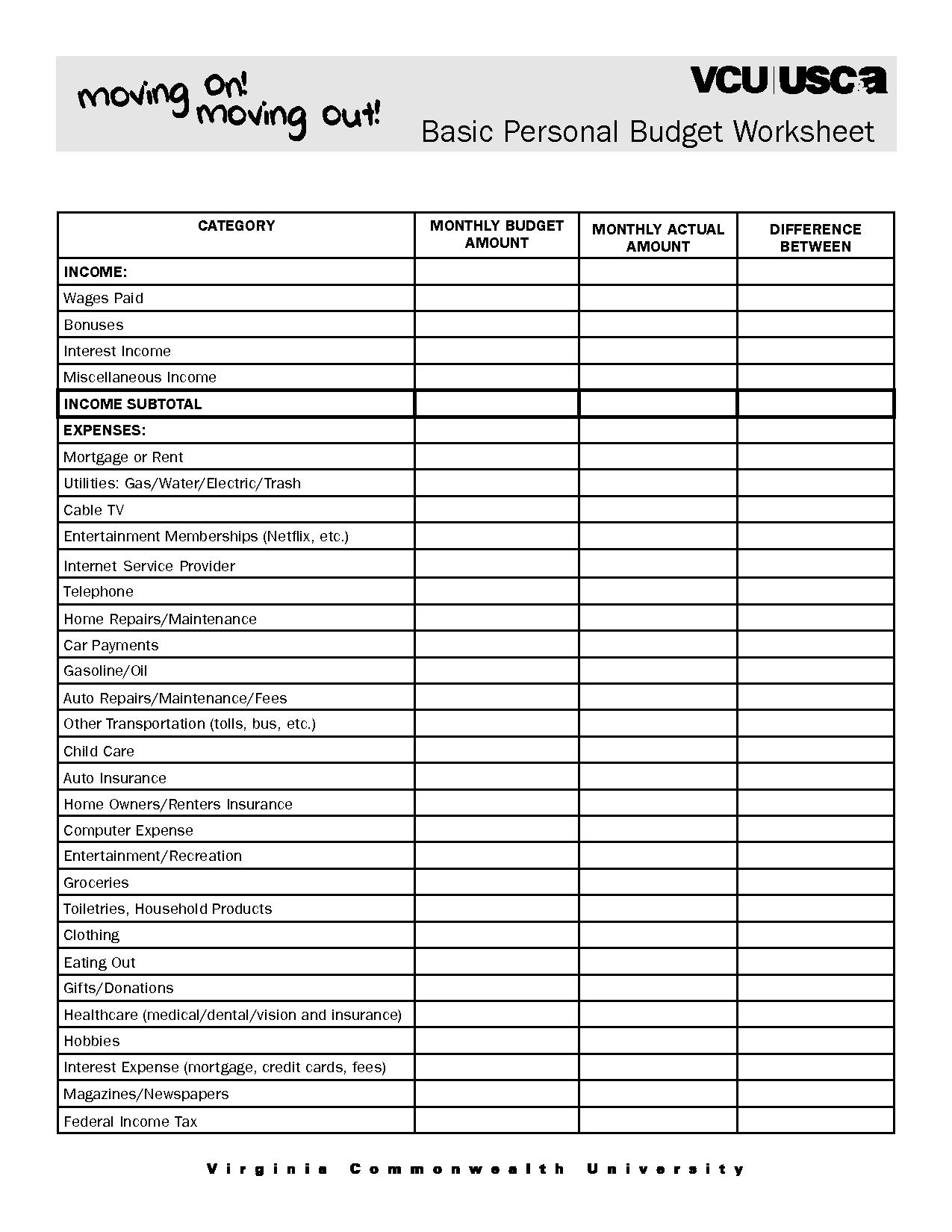 4 Best Free Printable Blank Budget Spreadsheet