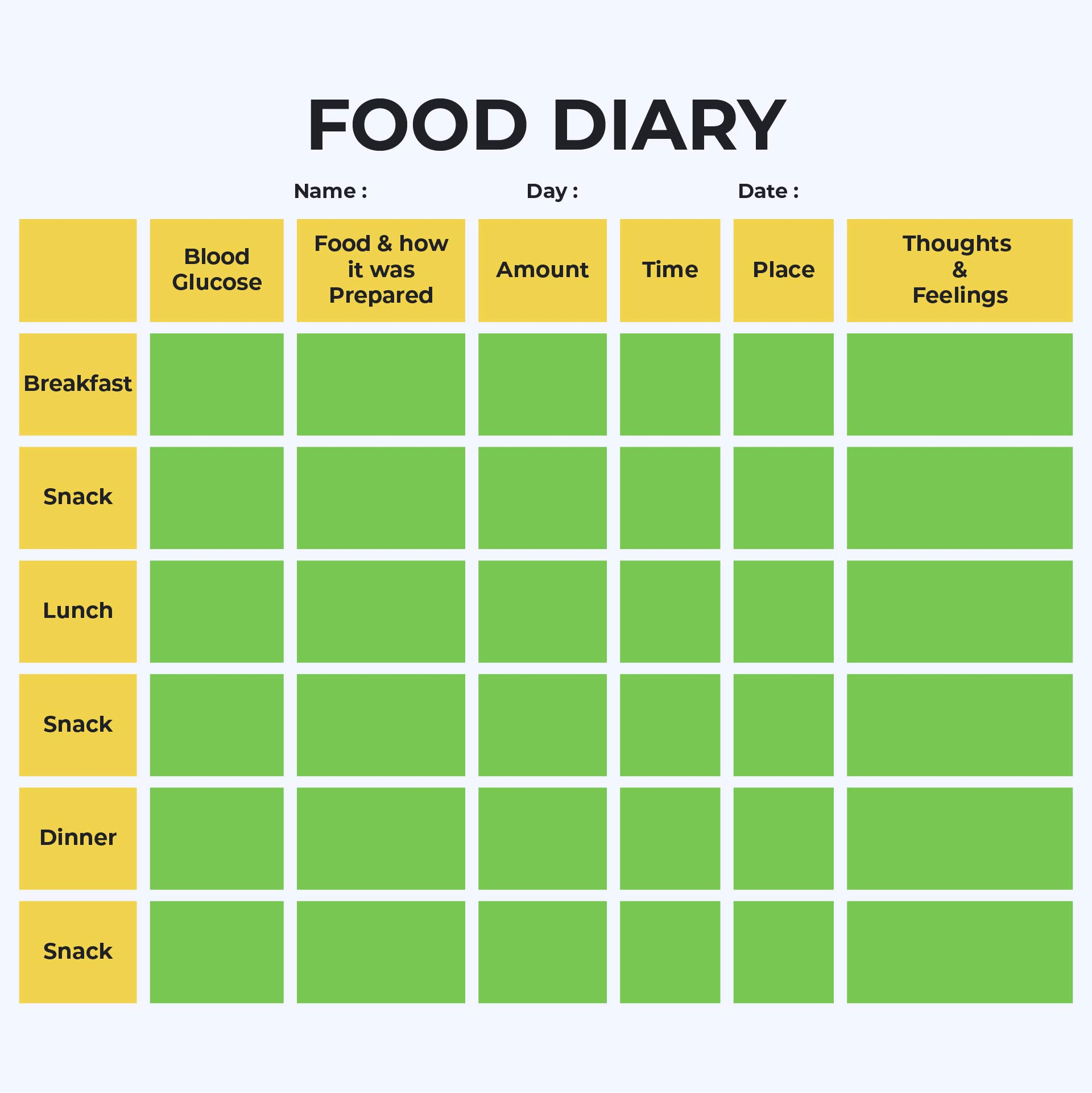 8 Best Diabetic Food Log Sheets Printable
