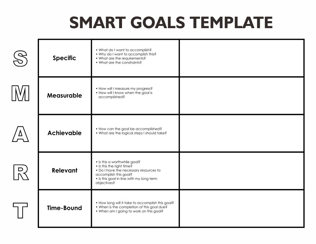 8 Best Blank Printable Goals Template Smart