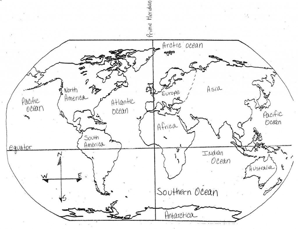 Continents And Oceans Map Quiz Printable