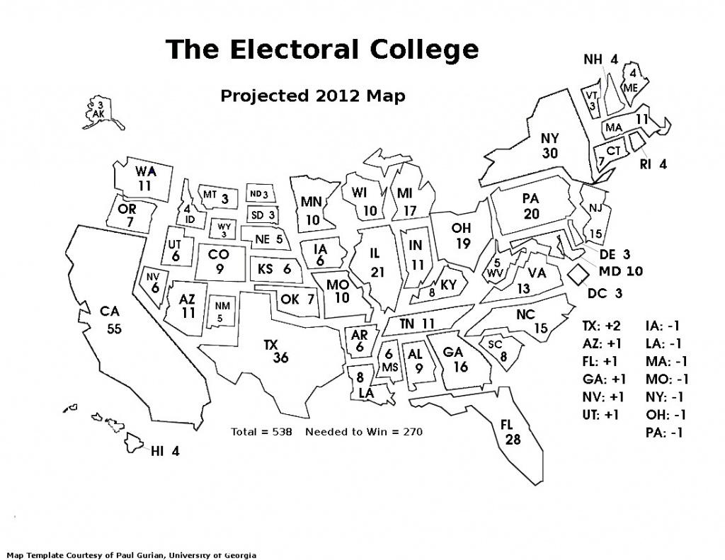 Blank Electoral College Map Printable