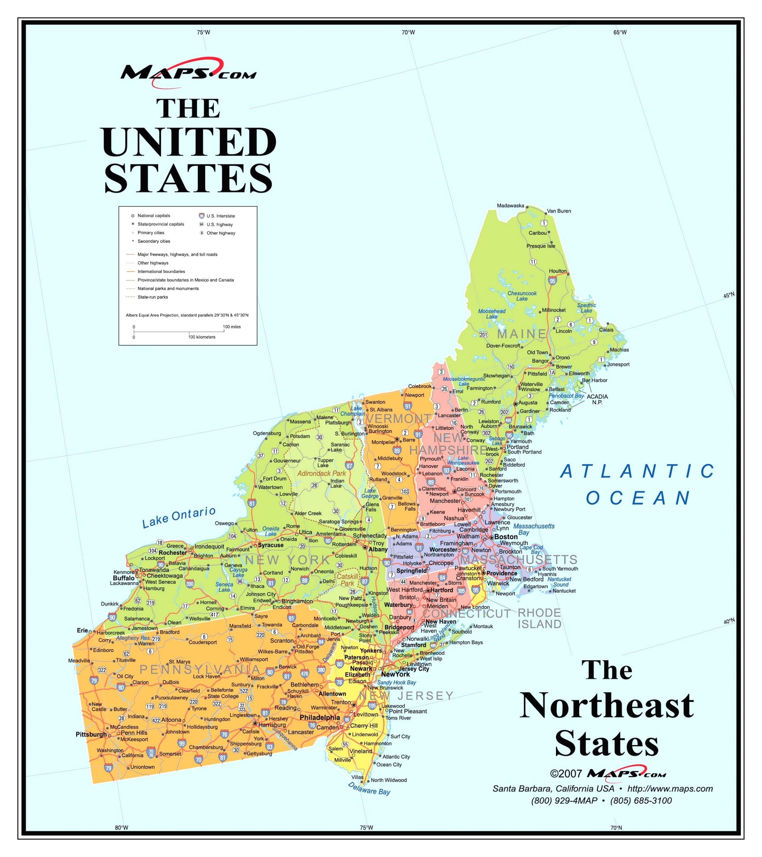 Printable Map Of Northeast Us
