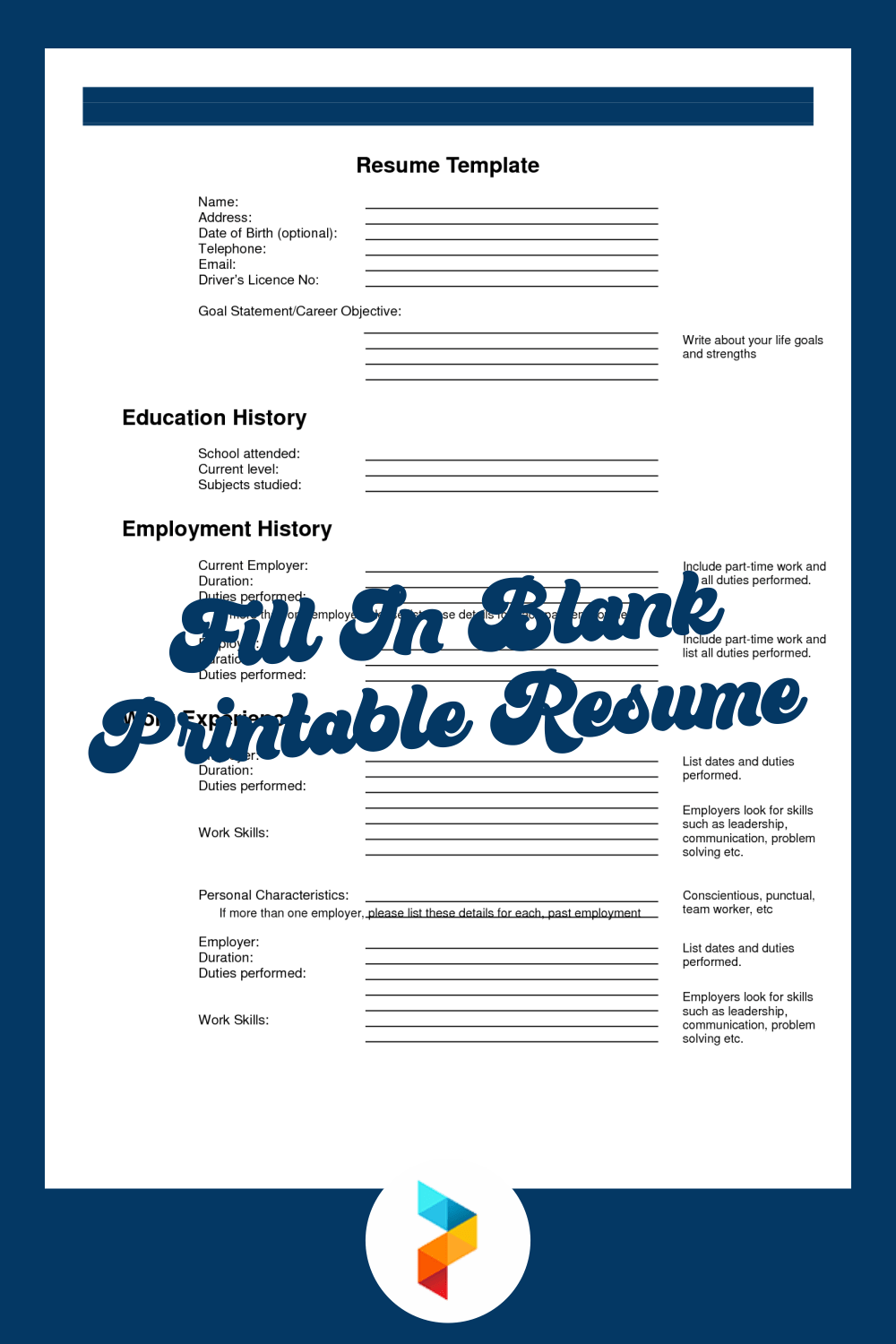 For this purpose, the best solution is the usage of blank resume. 10 Best Fill In Blank Printable Resume Printablee Com
