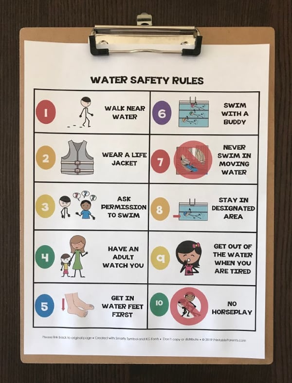 free-printable-water-safety-rules-on-brown-clipboard