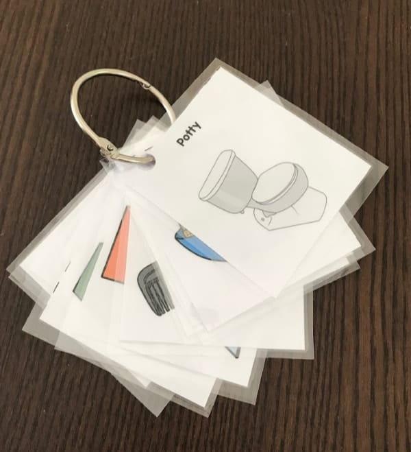 toddler-preschooler-morning-routine-laminated-cards-on-silver-binder-ring