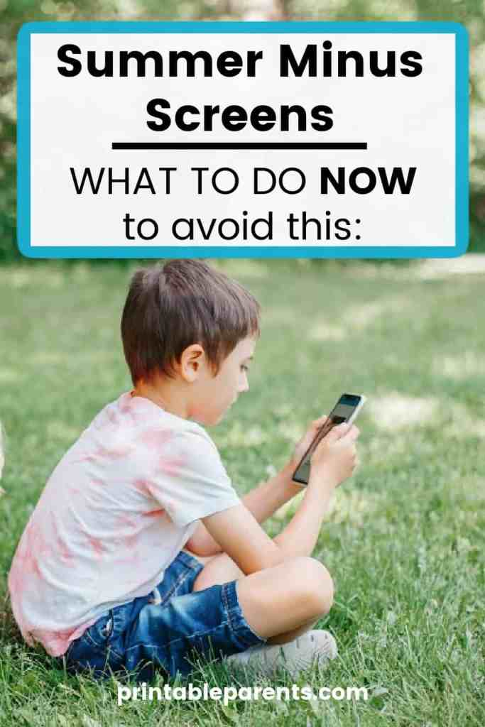 boy sitting in grass on iphone with caption summer minus screen what to do now to avoid this