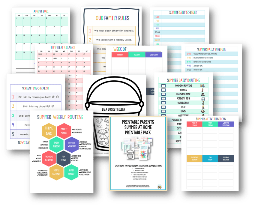 12 pages of summer schedule printables