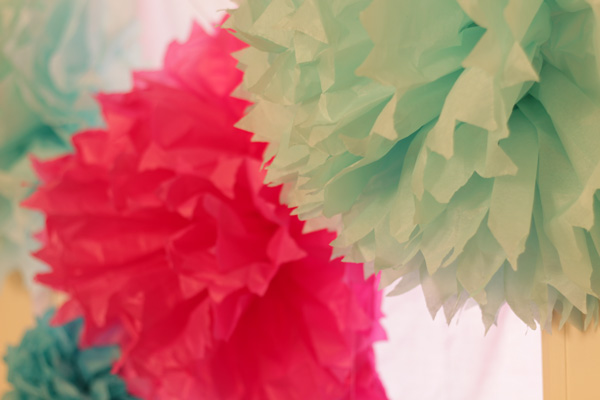 This is an image of paper pom poms.
