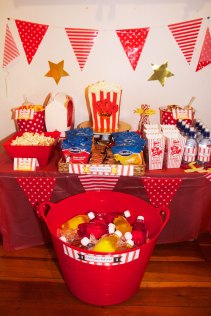 This is an image of the Popcorn and PJs party table.