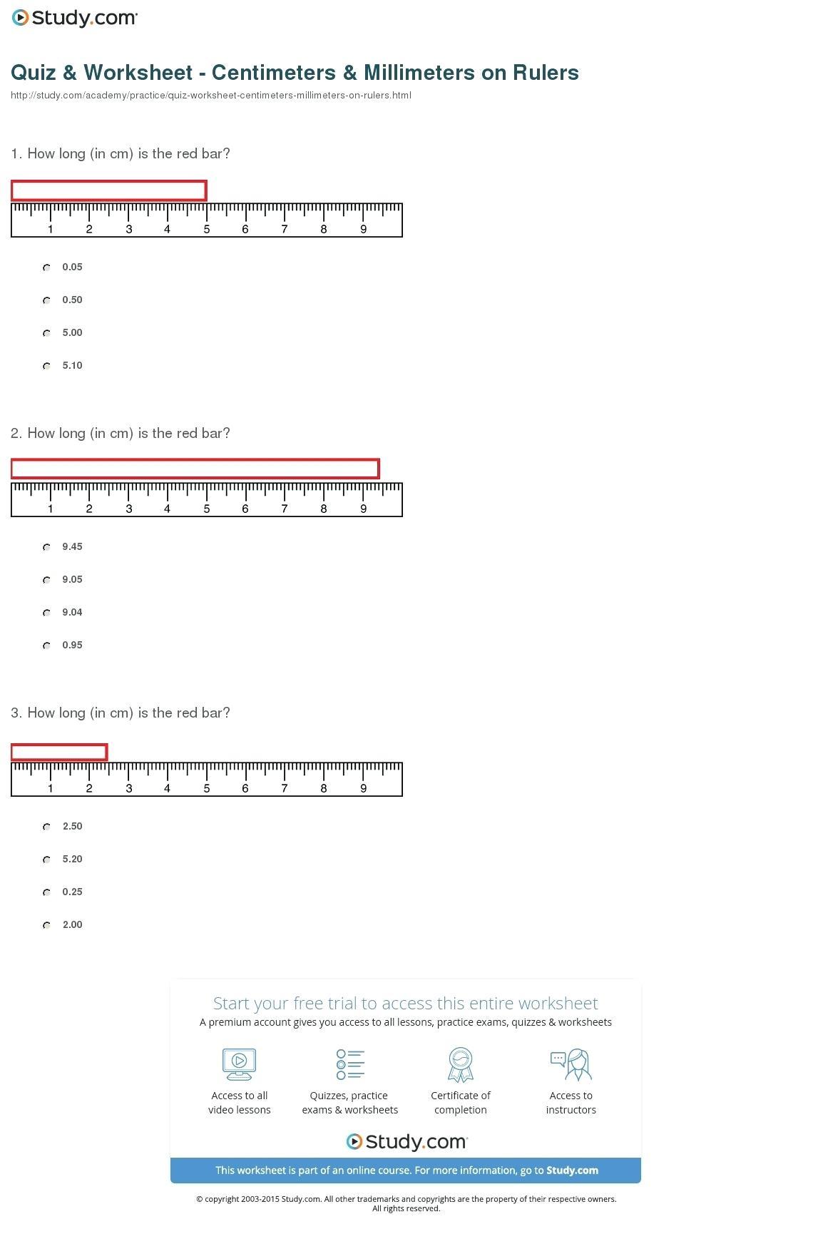 Printable Ruler Quiz