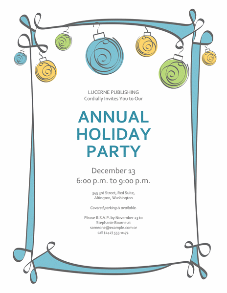 Holiday Party Invitation Templates Free Word - Wedding Invitation ...