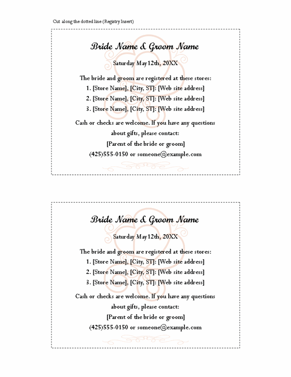 Enement Bridal Shower Registry Insert Hearts Entwined Design Printable Invitations