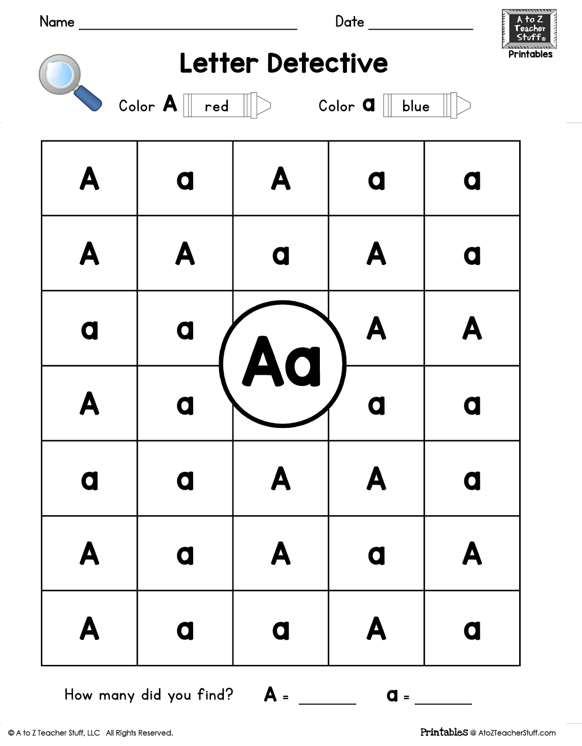 Letter A Letter Detective Uppercase Amp Lowercase Visual Discrimination