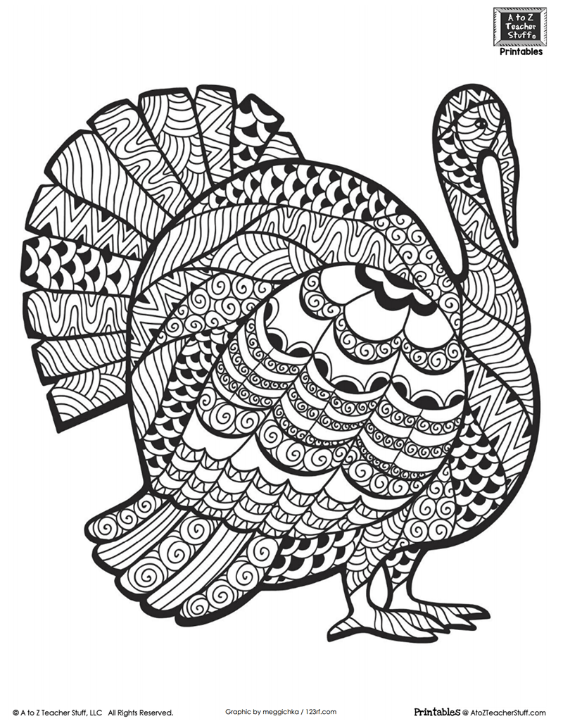 Detailed Turkey Advanced Coloring Page A To Z Teacher Stuff Printable Pages And Worksheets