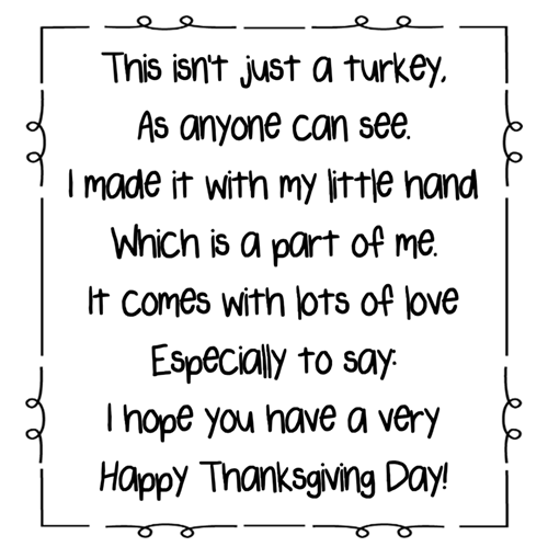 Turkey Handprint Poem Printables A To Z Teacher Stuff