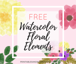 watercolor flowers, floral elements, graphics, freebies, design elements