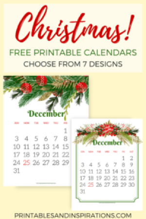 free Christmas calendar, free printable December calendar, Christmas decor
