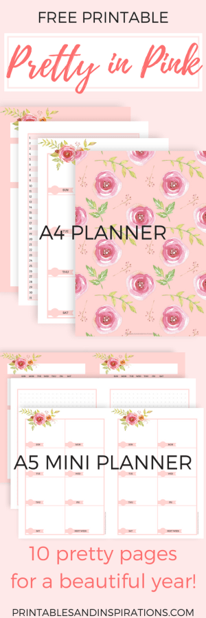 free printable planners, pink planner pages, monthly planner, weekly planner, pink calendar, bullet journal, mini planner