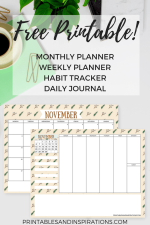 free printable calendar November 2017, monthly planner, weekly planner, habit tracker, journal, free 2017 calendar printables