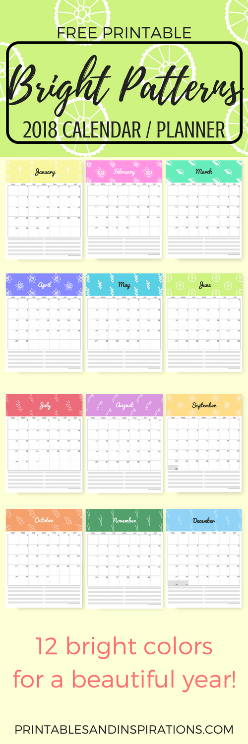 Weekly Calendar Colorful : Free colorful calendar in bright patterns