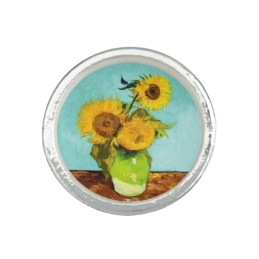Three Sunflowers In A Vase Ring