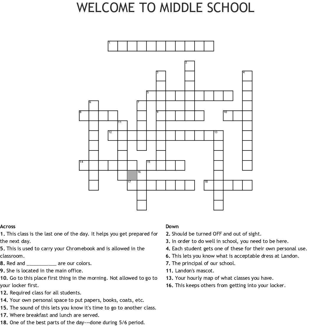 Middle School Printable Crossword Puzzles