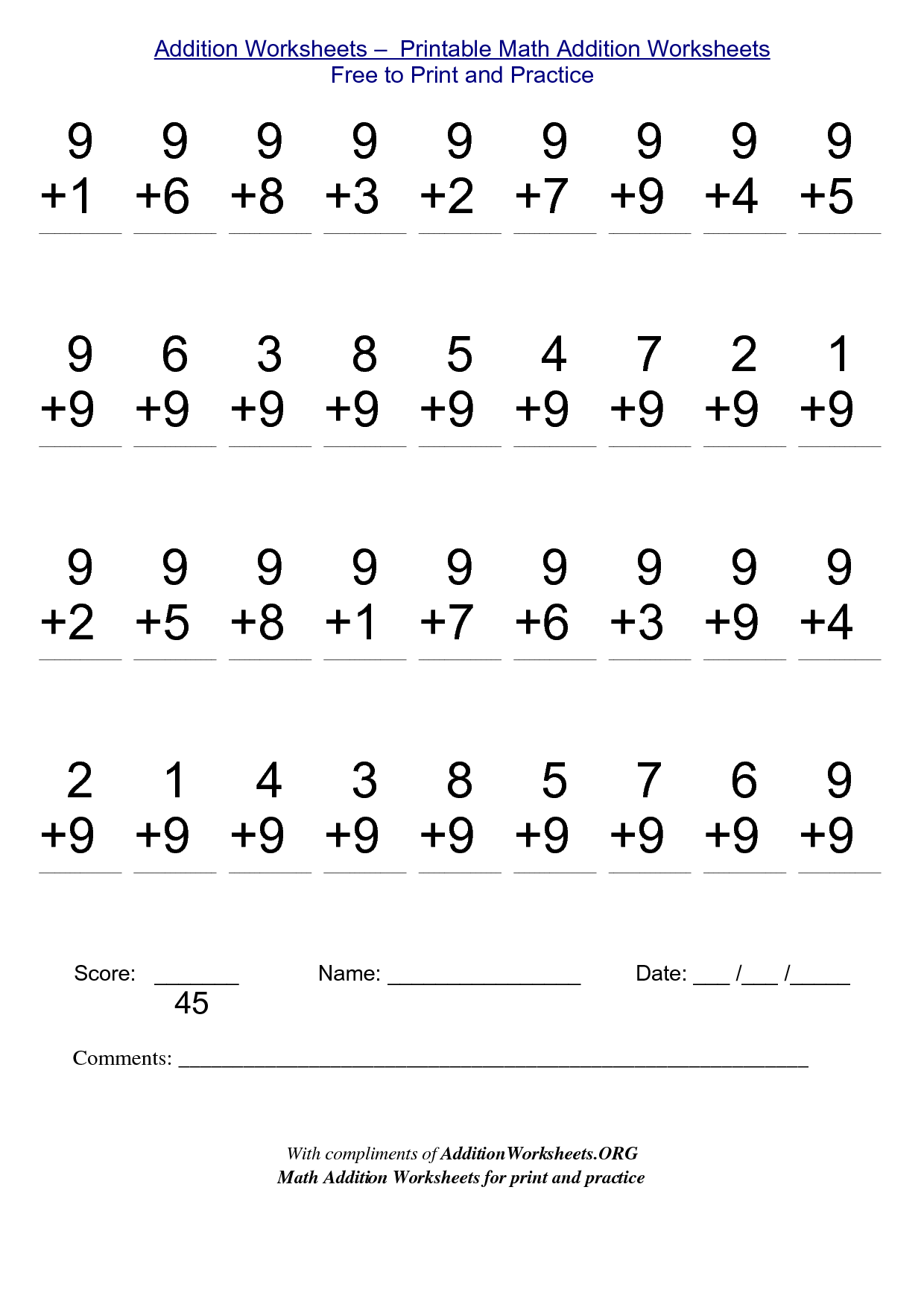 Free Printable Math Addition Worksheets
