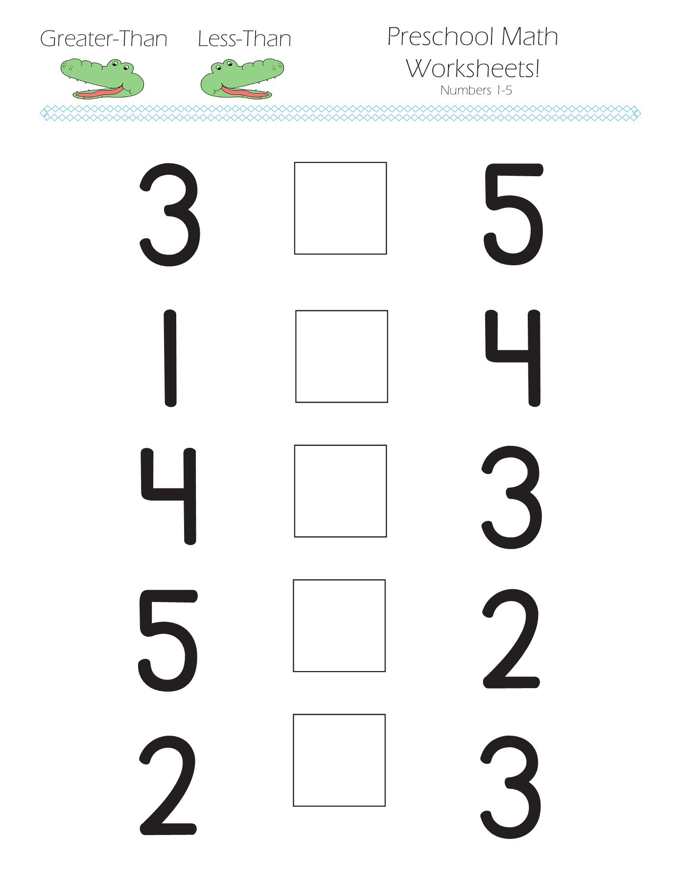 Free Printable Math Worksheets Greater Than Less Than