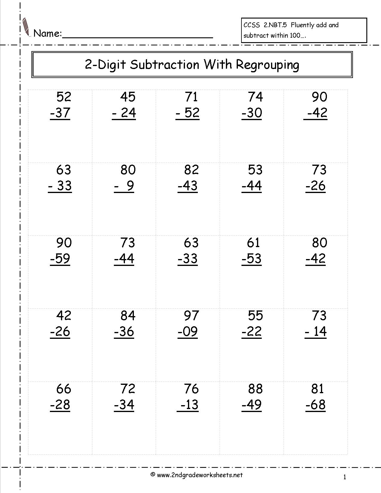 Free Printable Math Worksheets 2nd Grade Subtraction