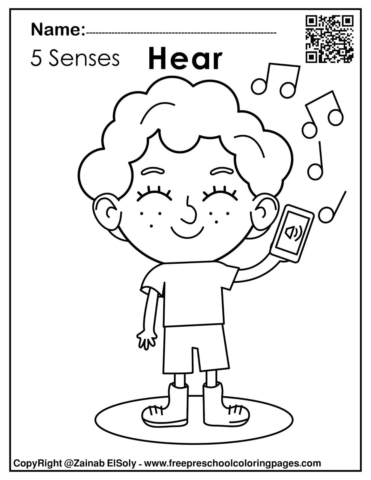 Free Printable 5 Senses Coloring Pages