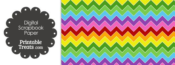 Rainbow Chevron Digital Scrapbook Paper