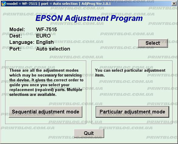Adjustment program Epson WF 7515, 7015