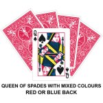 Queen Of Spades With Mixed Colours Gaff Card