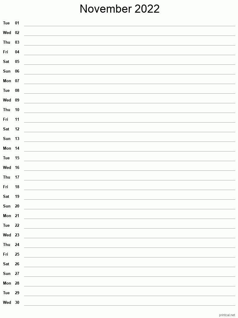 Time rules our lives, with appointments and deadlines guiding us through our days. Printable November 2022 Calendar   Free Printable Calendars