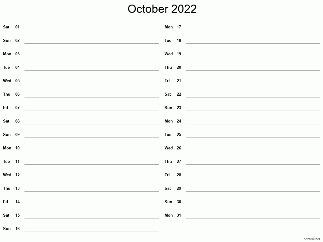 Time rules our lives, with appointments and deadlines guiding us through our days. Printable October 2022 Calendar | Free Printable Calendars