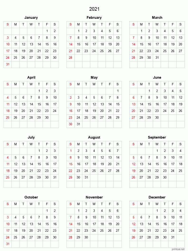 From an unprecedented pandemic to historic calls for racial justice to homicidal hornets to a seemingly major uptick in global climate catastrophes — and those are just a few of the year's standout ev. Printable Yearly Calendar 2021, Full-year | Free Printable ...
