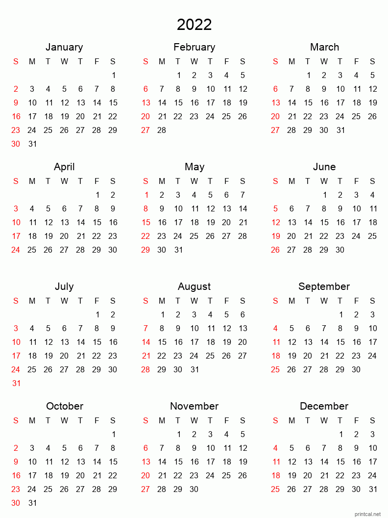 Sometimes it is handy to have a calendar for your current month on your cubical wall. Printable Yearly Calendar 2022, Full-year | Free Printable ...